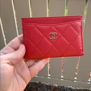 Authentic CHANEL Caviar Quilted Red Card Holder